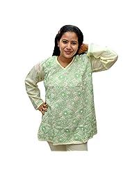 Odishabazaar Women's White Green Cotton Lakhnawi Chikankari Short Kurti - B00YNM9W1O