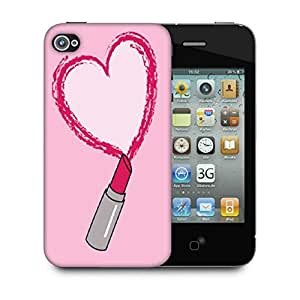 Snoogg Lipstick Love Designer Protective Back Case Cover For Apple Iphone 4