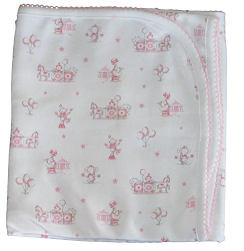 Kissy Kissy Baby-Girls Infant Circus Stars Print Receiving Blanket-White With Pink-One Size