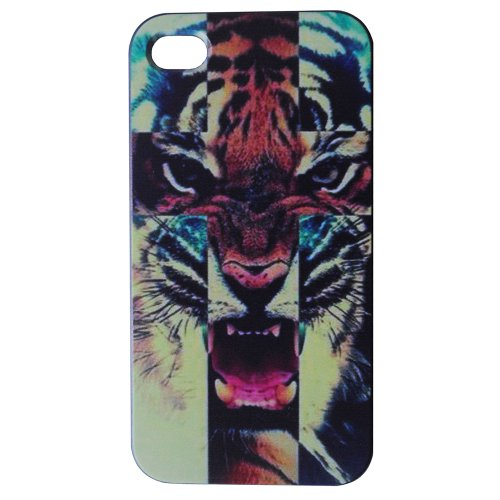 Meaci® Iphone 4 4S At&T, Verizon & Sprint Pc Hard Case Animal Tiger Pattern Touch Sense Pattern Series Fast Colours Protective Case 1X Free Anti-Dust Plug Stopper-Random Color (I)