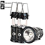 Solar Lanterns, Camping Lanterns Rechargeable, Collapsible Led Outdoor Lantern Bright Portable For Camp, Hurricane, Emergency, Power Outages(Black 2 Pack)