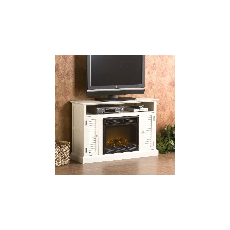 antique white media console w electric fireplace home