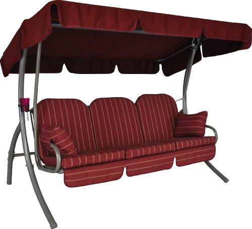 Angerer-Ibiza-Hollywoodschaukel-Faro-Rot-3-Sitzer