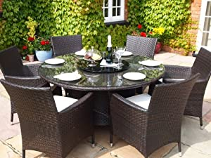sidney rattan garden conservatory dining set round table and 6 chairs