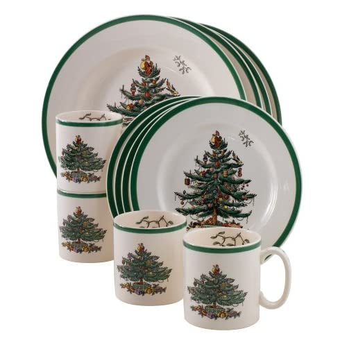 Spode Christmas Tree 12-Piece Dinnerware Set Service for 4