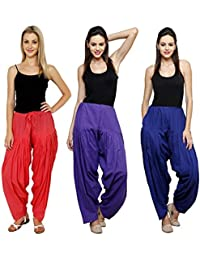 Fashion Store Women's Cotton Patiala Salwar Combo (Navy Blue, Rayol Blue & Red & Free Si