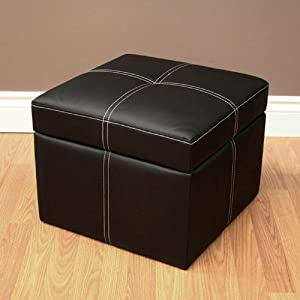 Delaney Small Square Storage Ottoman in Black,  by DHP (5153196)