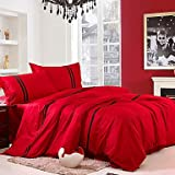 MOMENTS 4-Piece Ruby Red with Black Stripe Cotton Duvet Cover Set