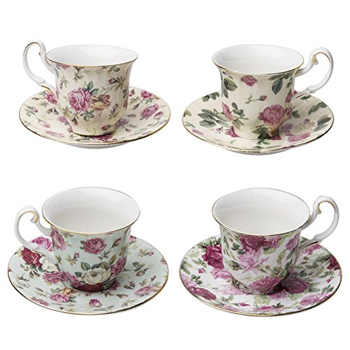 Gracie China Rose Chintz 3-Ounce Porcelain Espresso Cup and Saucer with Gold Trim, Set of 4 (3 Oz Espresso Cups And Saucers compare prices)