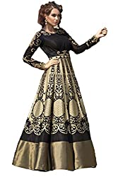 Justkartit Women's Black & Golden Colour Zari Embroidery Fully Stitched Sleeveless Dhupion Gown / Readymade Wedding Wear Gown / Stitched Dhupion Party Wear Gown (Ready To Wear Collection)