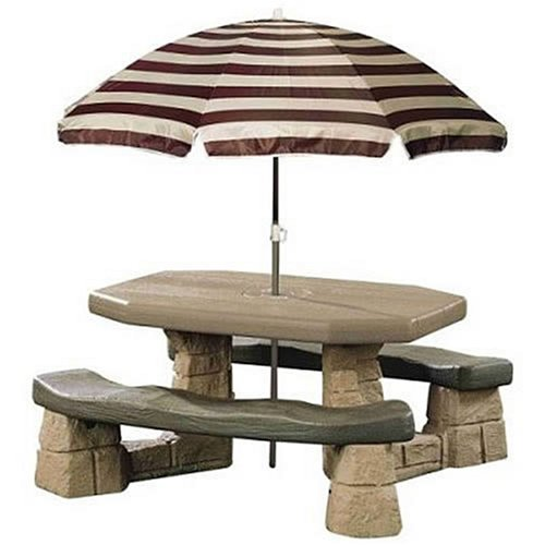 Umbrella For Picnic Table : ... : Outdoor Living: Step2 Naturally Playful Picnic Table with Umbrella
