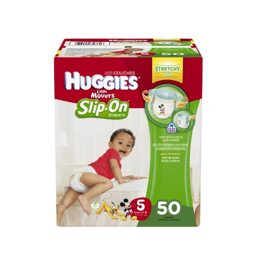Huggies Little Movers Slip-On Diapers Big Pack, Size 5, 50 Count