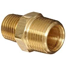 Anderson Metals Brass Pipe Fitting, Reducing Hex Nipple, NPT Male