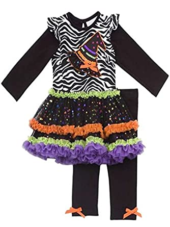 Rare Editions Girls Halloween Witch Hat Dress Outfit Leggings, Black