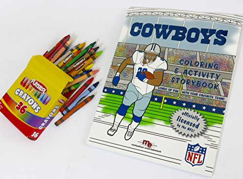 Dallas Cowboys, Coloring & Activity Storybook with a large box of 36 Playschool Btand crayons.