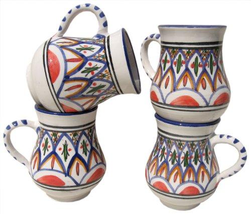Le Souk Ceramique Large Mugs, Set Of 4, Tabarka Design