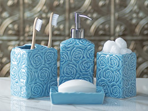 Designer 4 piece ceramic bath accessory set includes for Aqua blue bathroom accessories