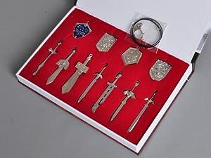 Procosplay 11 Pcs Anime the Legend of Zelda Shield Pendants and Sword Keys Cosplay Accessories