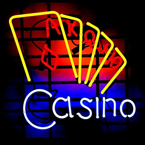 New Casino Pokers Beer Bar Pub Hand-Made Real Glass Neon Light Sign 19X15 Inches