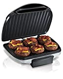 """Hamilton Beach (25371) Electric Smokeless Indoor Grill with Non Stick  Plates, 90"""" Cooking Surface, Silver"""