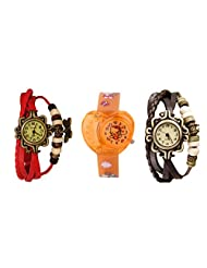 ANALOG KIDS WATCH WITH HELLO KITTY CARTOON PRINTED ON DIAL AND STRAP WITH 2 FREE WOMEN BRACELET WATCH-SET OF 3 - B01BGDAJRI