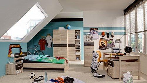 Jugendzimmer 6-tlg. in Eiche sägerau-Nachb. mit Abs. in Lava, 2-trg. Schrank, Regalschrank, Bett 140×200 cm, Nachtschrank, Schreibtisch, Rollcontainer günstig bestellen