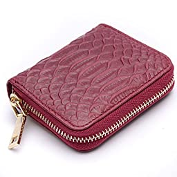 Credit Card Wallet RFID Blocking Wallet for Women Leather Zipper Small Wallet Wine red