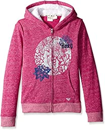 Roxy Girl Breezy Hoodie Full Front Zip Sherpa Linned Hood French Terry Hoodie , Festival Fuchsia, Medium/12/14