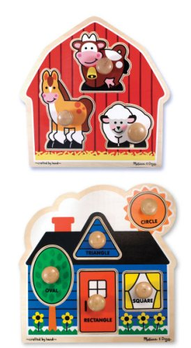 Cheap Melissa & Doug First Shapes and Barnyard Animals Wooden Jumbo Knob Puzzle Set -Melissa and Doug (B00162FIIU)