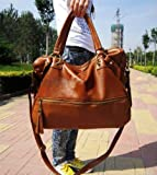 Eforlife Brown Lady Korean Hobo Pu Tassel Leather Handbag Shoulder Bag Large Capacity New by NYC Leather Factory Outlet