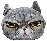 【SCGEHA】リアルプリント 猫 ねこ ネコ 顔 クッション 動物 アニマル フォト 大きい インパクト大!まるでペットを飼ったよう♪ (グレー/イエロー)