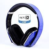 August EP650 Bluetooth Wireless Stereo NFC Headphones - Comfortable Leather Cushioned Headset with built-in Microphone, 3.5mm Audio In Socket and Rechargeable Battery - Compatible with Mobile Phones, iPhone, iPad, Laptops, Tablets, Smartphones etc. (Blue)