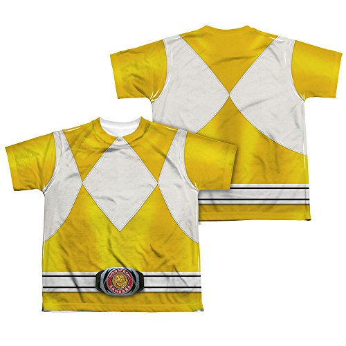 Power Rangers Childrens Live Action TV Series Yellow Costume Big Boys 2SidePrint