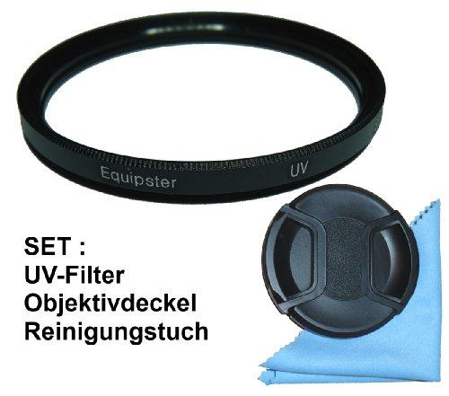 equipster UV Filter NC-(00) Schutzfilter Set mit Objektivschutzdeckel und Mikrofaser Reinigungstuch für Sigma 18-125mm f3.8-5.6 DC OS HSM [Minolta/Sony]