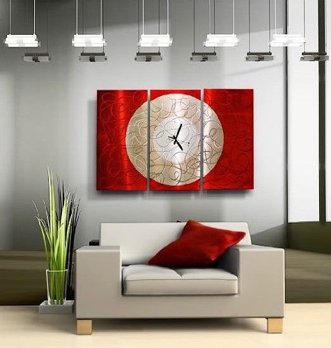 Large Red & Silver Modern Abstract Painted Metal Wall Clock - Burning Moon by Jon Allen