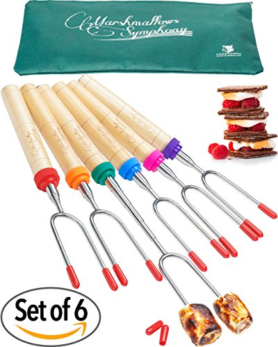 Set of 6 Marshmallow and Hot Dog Roasting Sticks 34 Inch Sturdy Extra Long Telescoping Smores Skewers by Carpathen (Camping Roasters compare prices)