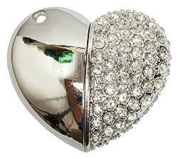 Zeztee Pen Drive ZT11613 Heart Shape Fancy Jewellery Style 16 GB USB 2.0 pen drive in Silver Color