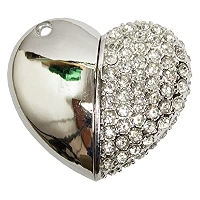 Zeztee Pen Drive ZT11613 Heart Shape Fancy Jewellery Style 16 GB USB 2.0 pen drive in Silver Color