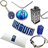 The Doctor Gift Pack. Tardis Necklaces, Gallifreyan Keyring, Bracelets and Pin. Pillow Box