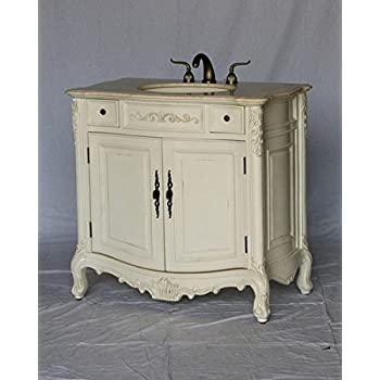 """36"""" Wood Single Sink Antique White Bathroom Vanity with Beige Cream Ivory Marble Top and Sink"""