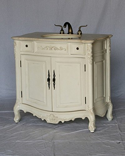36 Quot Wood Single Sink Antique White Bathroom Vanity With Beige Cream Ivory Marble Top And Sink