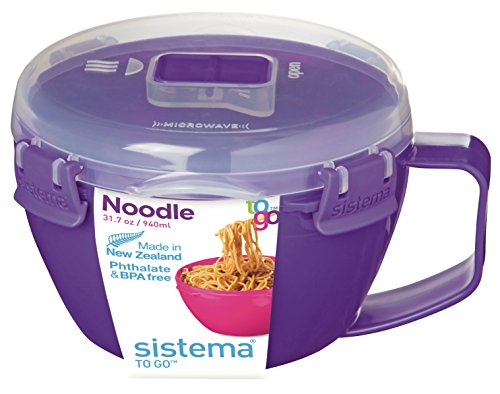 Sistema Microwave Cookware Noodle Bowl, 31.7 Ounce/ 4 Cup, Assorted Colors (Microwave Pasta Cooker compare prices)