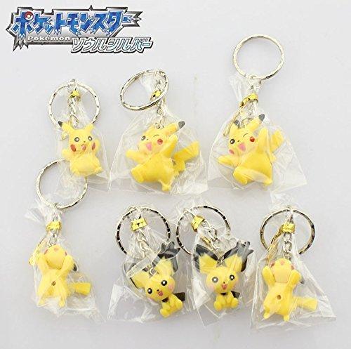 Free Shipping 7pcs Cartoon Pokemon Anime Pikachu Style Key Ring Keychain Cartoon Keyring PVC Figure Toy Dolls (7pcs per set)