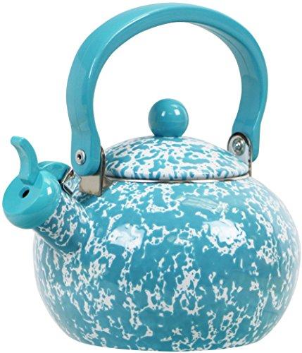 Calypso Basics Whistling Marble Teakettle, 2 quart, Turquoise (Whistling Tea Kettle Turquoise compare prices)