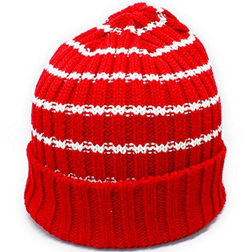 ノーブランド品 ボーダー ニット帽 帽子 ニットキャップ レッド