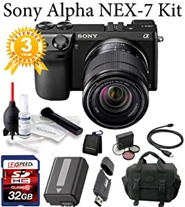 Sony Alpha NEX-7 NEX-7/B NEX-7K/B NEX7 NEX-7KB (Black) + Sony SEL1855 Lens + Case + 32GB + Battery + 3 Year Digital Camera Warranty