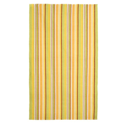 Extra Weave USA 44 by 72-Inch Cottage Stripe Rug, Sage, Yellow, Red and Orange