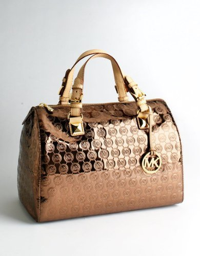 Michael Kors Grayson Large Satchel With MK Logo In Cocoa
