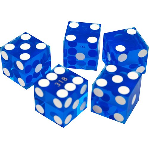 Cheapest Price! Set of 5 Blue Grade AAA 19mm Casino Dice with Razor Edges and Matching Serial Number...