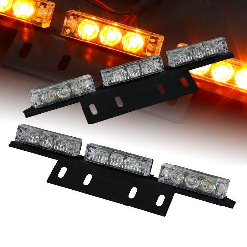 18 Bright Amber Led Hazard Warning Flash Strobe Lights Bar For Windshield / Dash / Deck / Grille